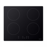 ElectrIQ 60cm Four Zone Touch Control Induction Hob - Black Glass EIQEHINDUCTIONTOUCH60
