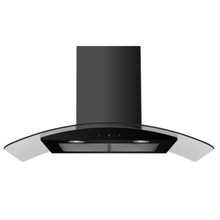 electriQ 90cm Satin Black Curved Glass Touch Control Chimney Cooker Hood