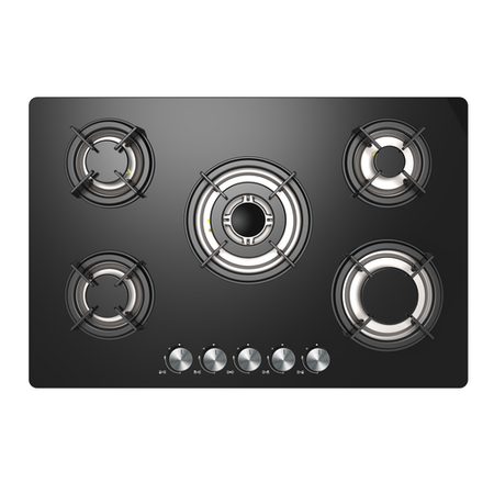 iQ 77cm Black Glass 5 Burner Gas Hob