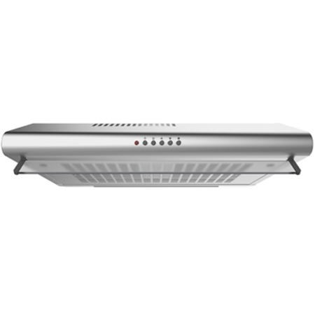 electriQ 60cm Stainless Steel Rear Venting Visor Hood with Glass Front