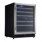 electriQ 60cm Wide 51 Bottle Stainless Steel Wine Cooler- EQWINE60S