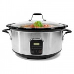electriQ 6.2L Slow Cooker in Stainless Steel with Digital LED Display and Cool Touch Handles - EIQSCBSTC