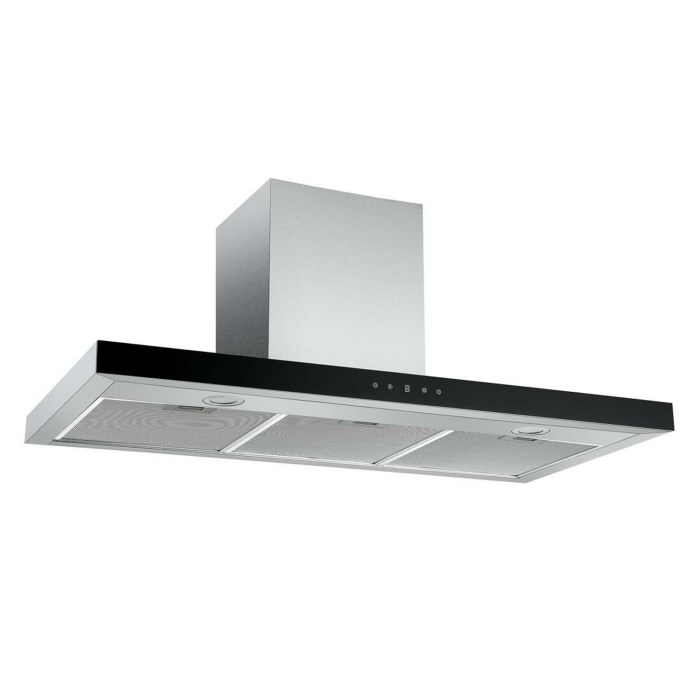 electriQ 100cm Slimline Box Touch Control Chimney Cooker Hood - Black Glass Front